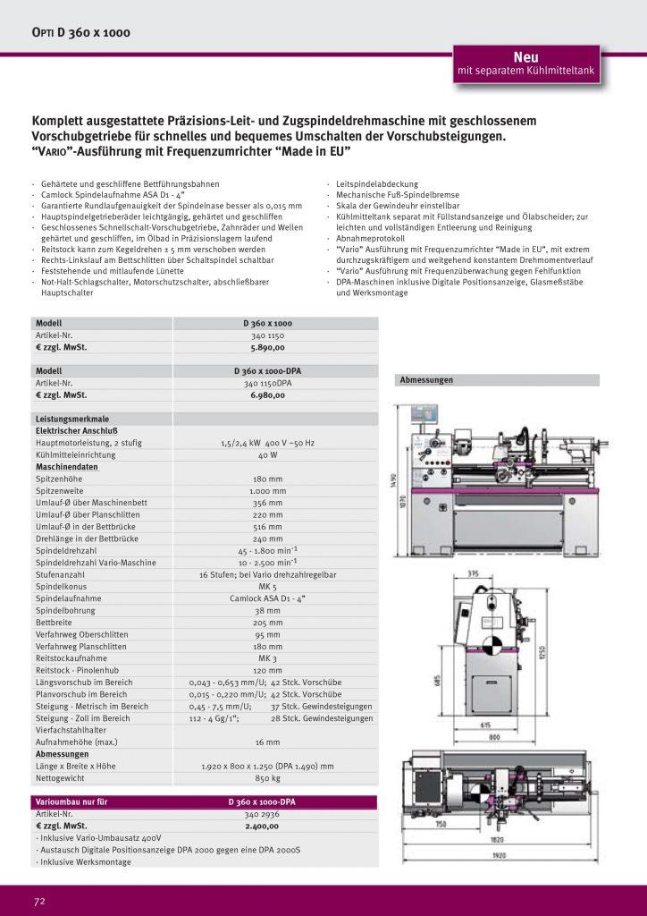 Токарный малогабаритный станок Optimum Drehmaschine D 360×1000 DPA